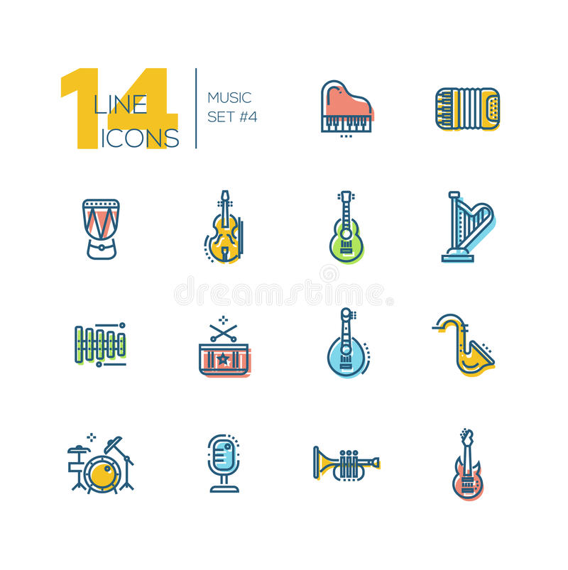 Musical Instruments - thick line icons set. Musical Instruments - modern vector thick line design icons set with accent color. Piano, accordion, kettledrum vector illustration
