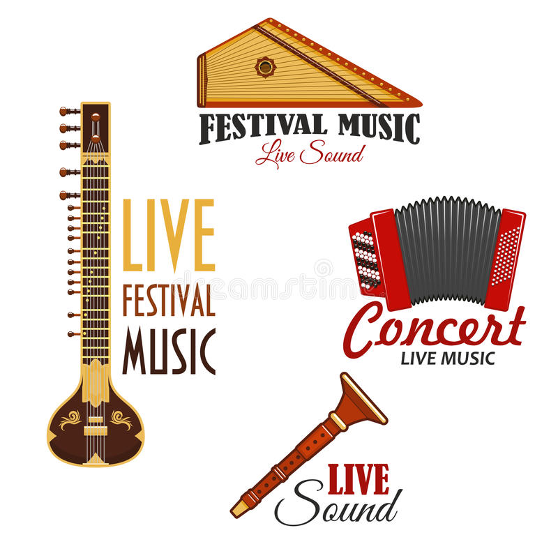 Musical instruments vector icons for music concert. Live music concert or festival vector icons. Set of musical instruments emblems of gusli harp and flute pipe vector illustration