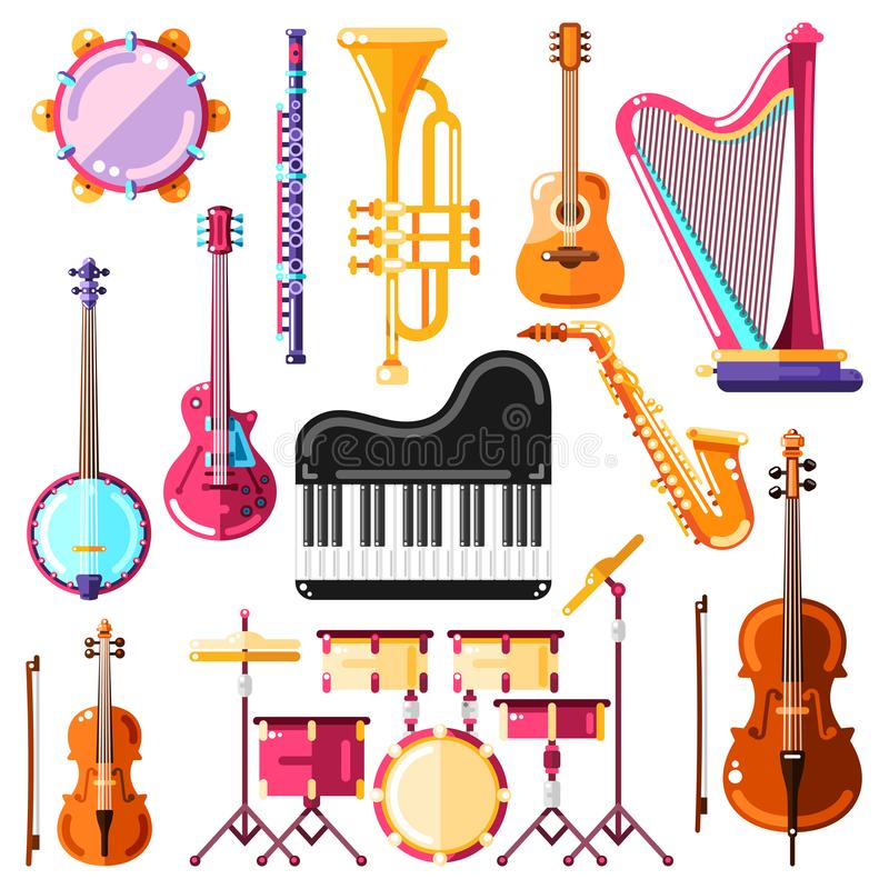 Musical instruments vector illustration. Colorful isolated icons and design elements set royalty free illustration