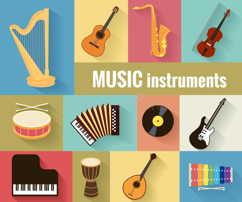 Musical instruments vector set. Set of musical instruments harp, guitar, saxophone, violin, drum, accordion, piano and banjo. Isolated on a separate background stock illustration