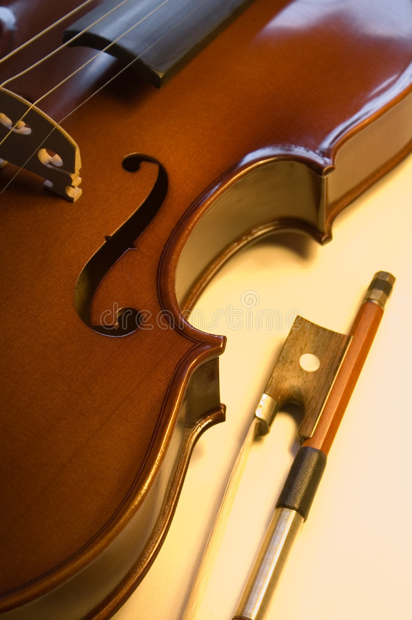 Musical instruments: violin and bow close up (7 ) royalty free stock photos