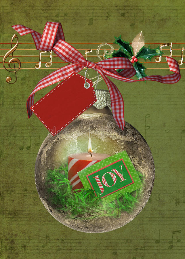 Download Christmas Joy Ornament With Music Stock Illustration - Illustration of label, gingham: 17535808