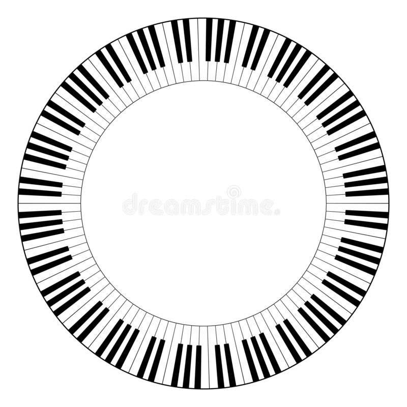 Musical keyboard circle frame stock illustration