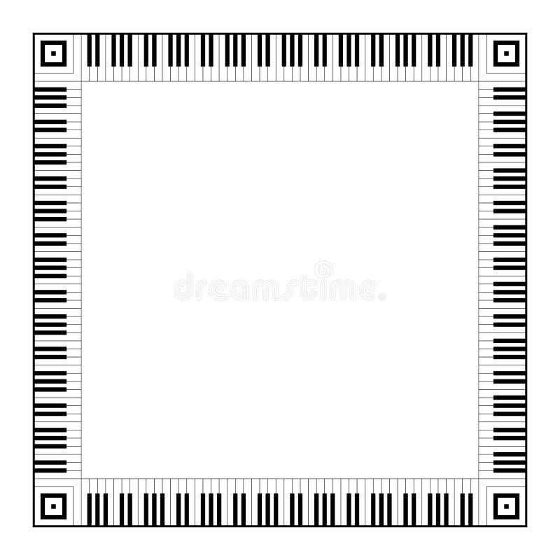 Musical keyboard square frame royalty free illustration