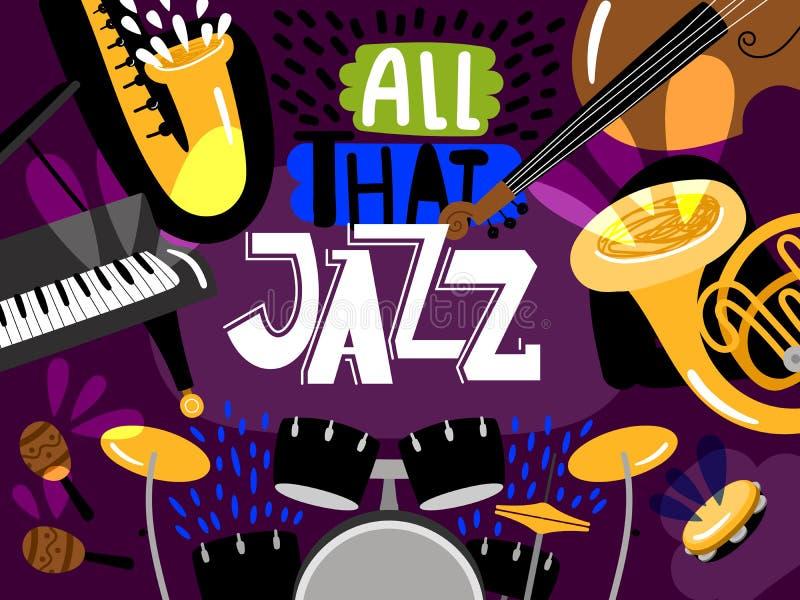 Musical live jazz band, concert of banner stock illustration