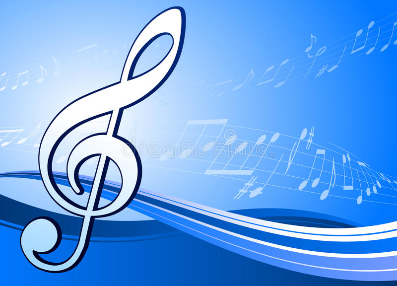 Musical note on abstract blue background stock illustration