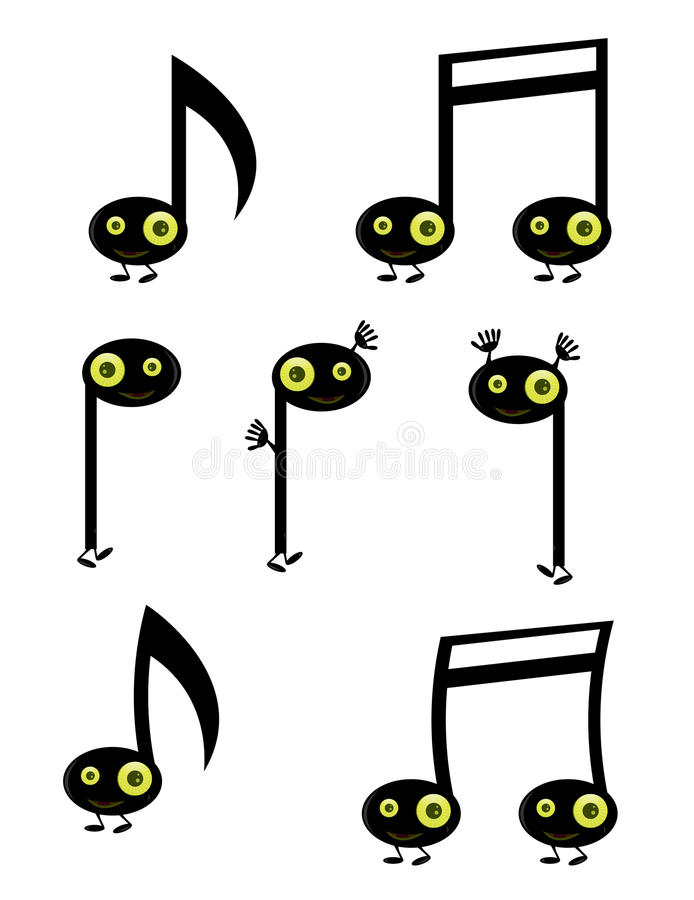 Musical note characters. With green eyes isolated on white royalty free illustration