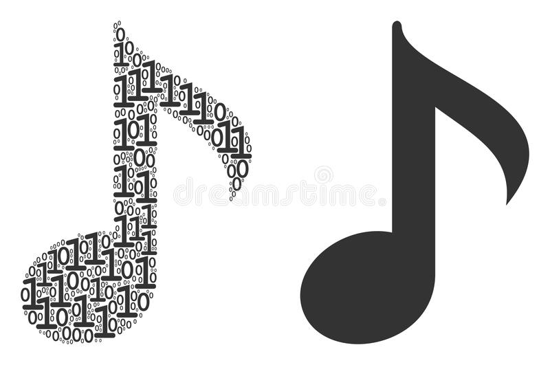 Musical Note Mosaic of Binary Digits. Musical note composition icon of zero and null digits in random sizes. Vector digits are composed into musical note royalty free illustration
