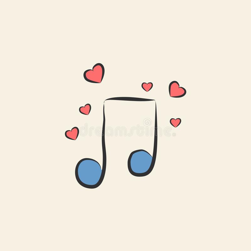 musical note with hearts sketch illustration. Element of colored wedding icon for mobile concept and web apps. Sketch style musica royalty free illustration