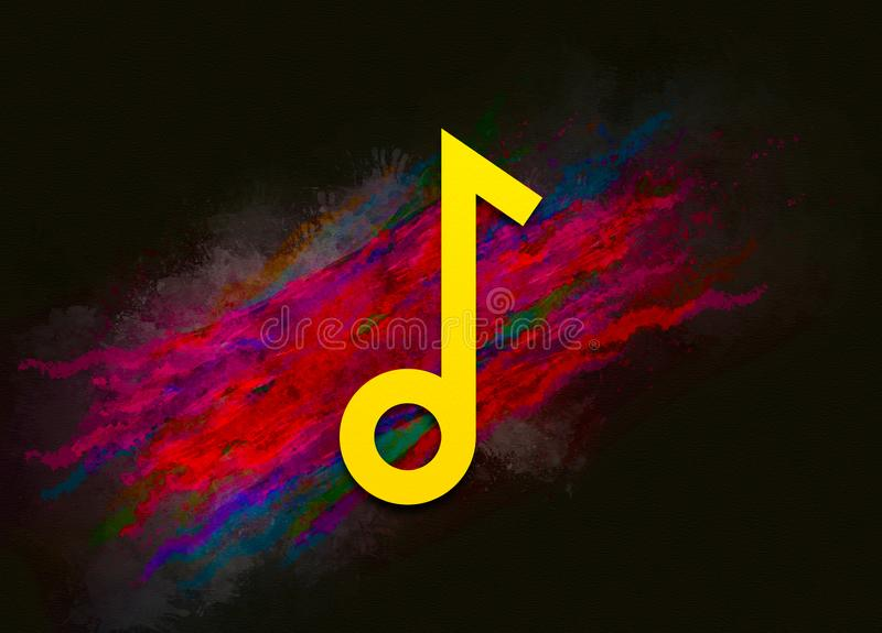 Musical note icon colorful paint abstract background brush strokes illustration design. Creative bright red color texture fluid liquid waves stock illustration