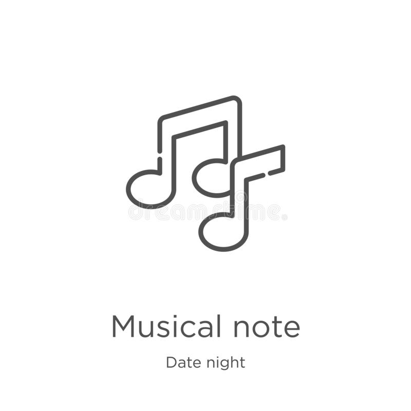 musical note icon vector from date night collection. Thin line musical note outline icon vector illustration. Outline, thin line vector illustration