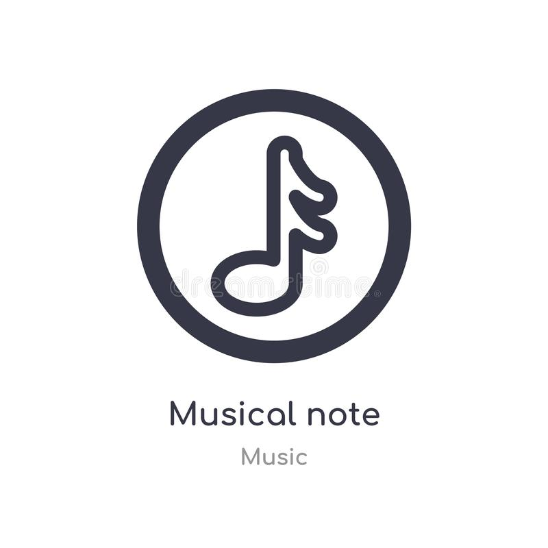 musical note outline icon. isolated line vector illustration from music collection. editable thin stroke musical note icon on royalty free illustration