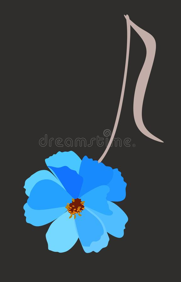 Musical note in shape of blue cosmos flower isolated on black background in vector. Logo, vertical greeting or invitation card stock illustration
