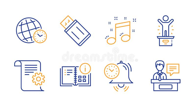 Musical note, Time management and Time zone icons set. Usb flash, Instruction info and Winner podium signs. Vector stock illustration