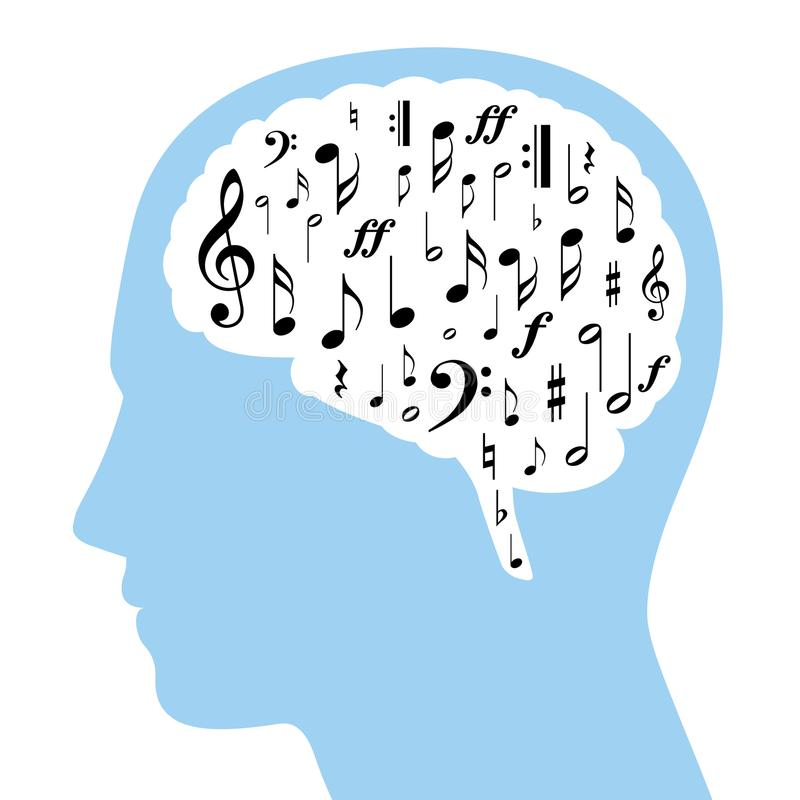 Musical notes in brain and head silhouette stock illustration