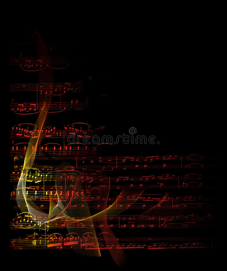 Musical notes on fire. Musical notes with flames on black background vector illustration