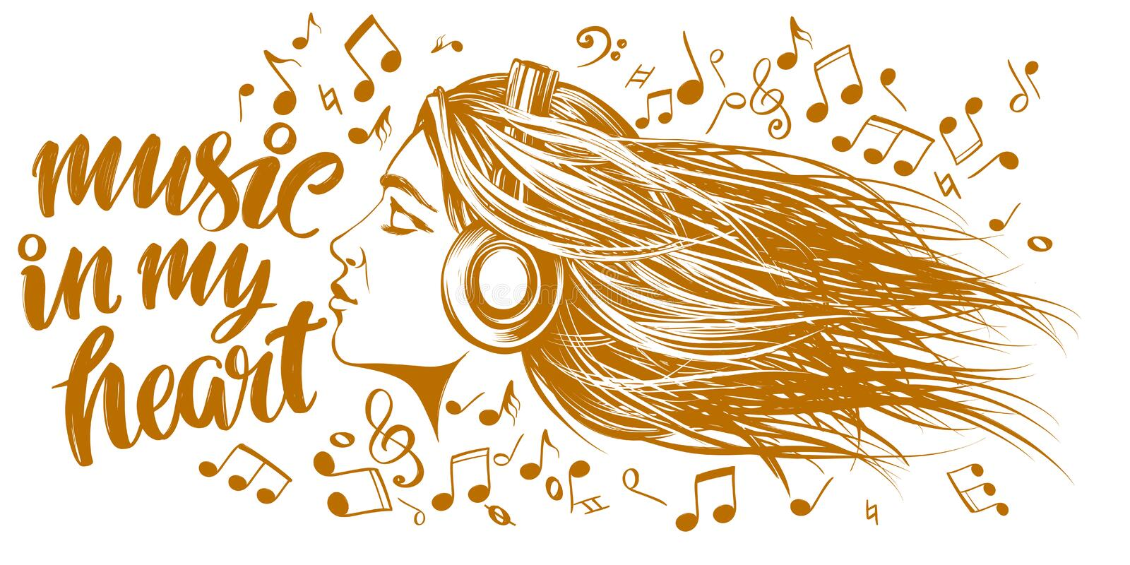 Beautiful young girl listening to music on headphones, musical notes love music, calligraphy text hand drawn vector royalty free illustration