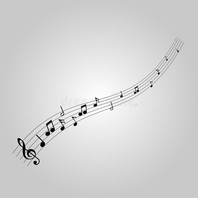 Musical notes with the G-clef stock illustration