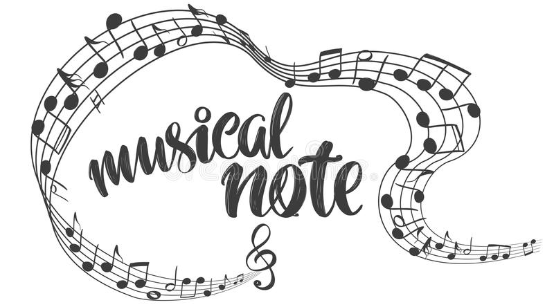Musical notes icon, love music, calligraphy text hand drawn vector illustration sketch royalty free illustration