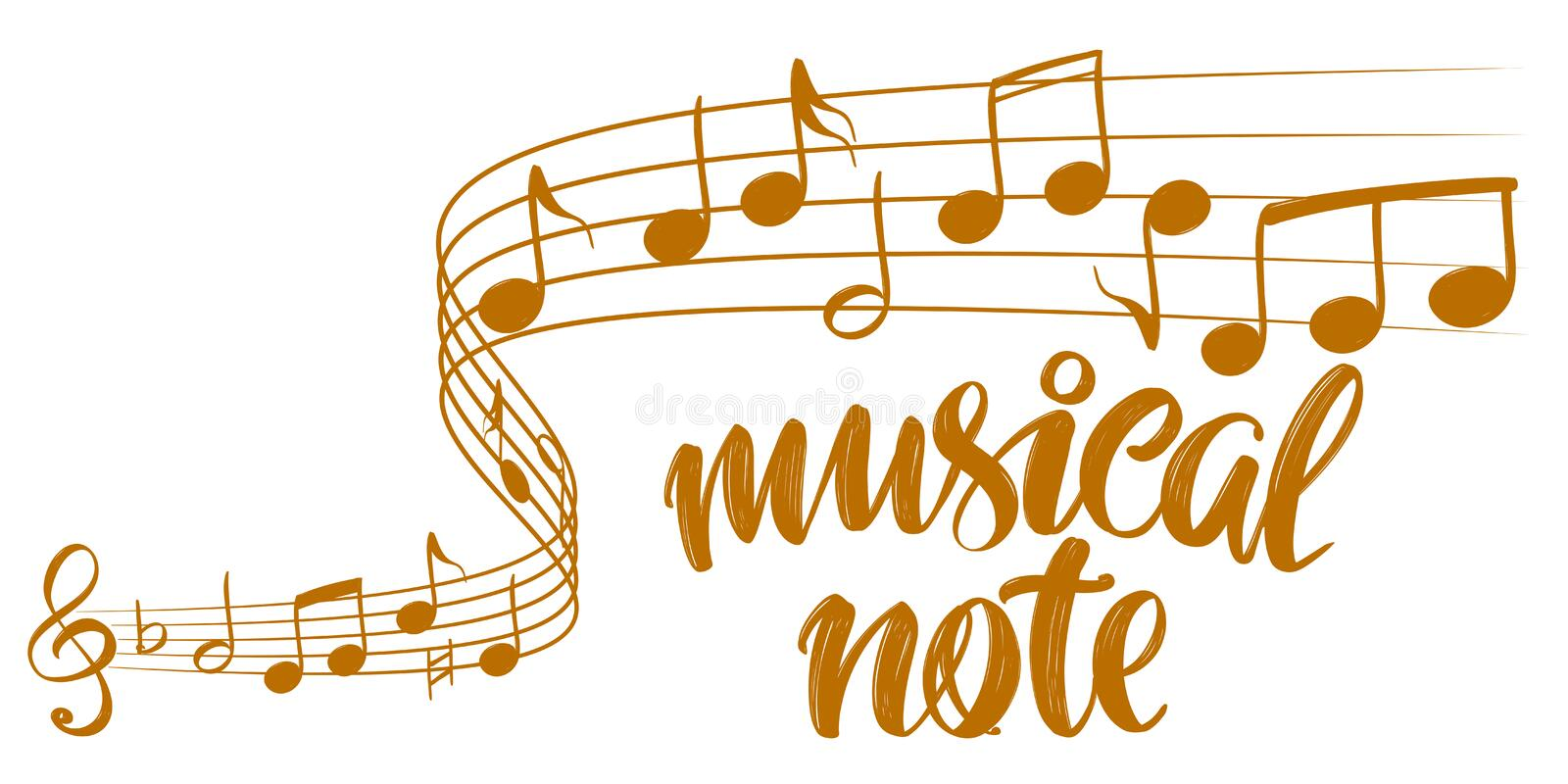 Musical notes icon, love music, calligraphy text hand drawn vector illustration sketch stock illustration