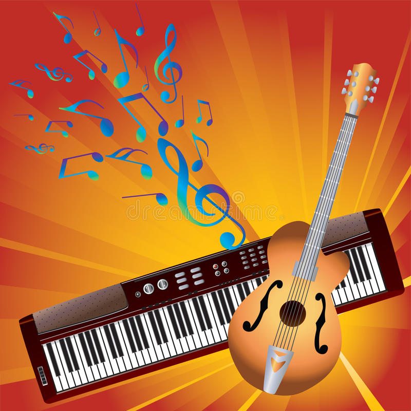 Musical notes and instruments. Musical notes, guitar and electronic piano in the background of yellow-red rays stock illustration