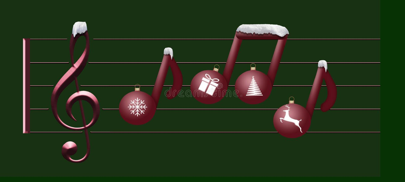 Musical notes made of Christmas ornaments float on a treble clef in this Christas holiday illustration about Christmas music. vector illustration
