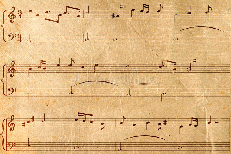 Musical Notes On Old Paper Stock Illustration. Image Of