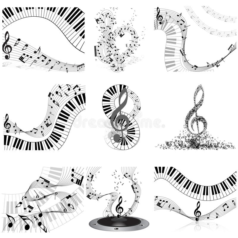 Musical Notes Staff Set Stock Vector