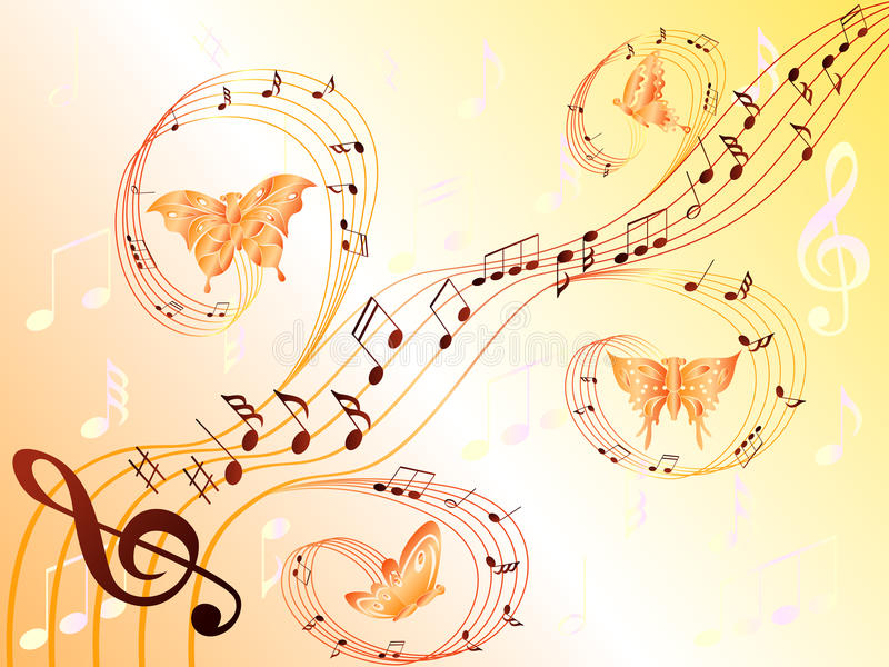 Musical notes on stave and flying butterflies stock illustration