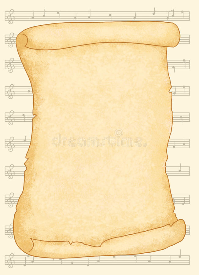 Musical parchment stock images