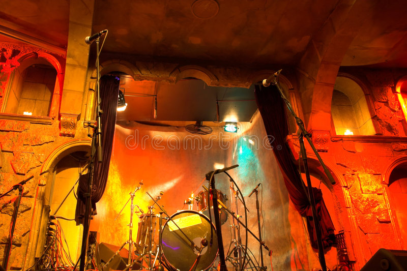 Before musical performance. Drums and microphones stock image