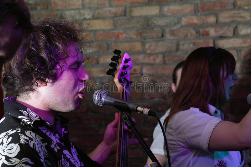 Musical performance. In underground club stock photography