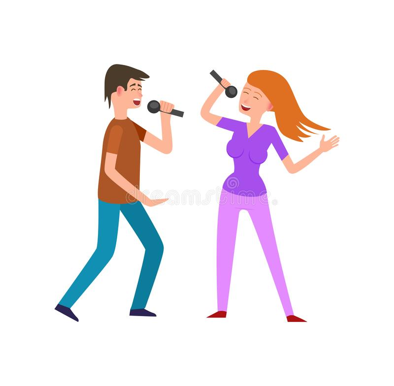 Musical Performance by Couple of Singers Pair vector illustration