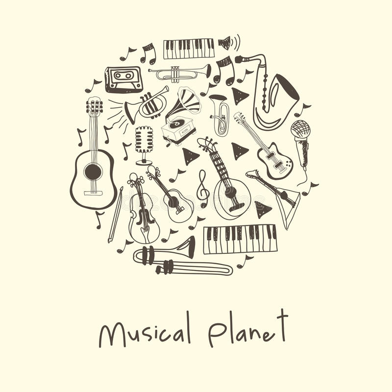 Musical planet royalty free illustration
