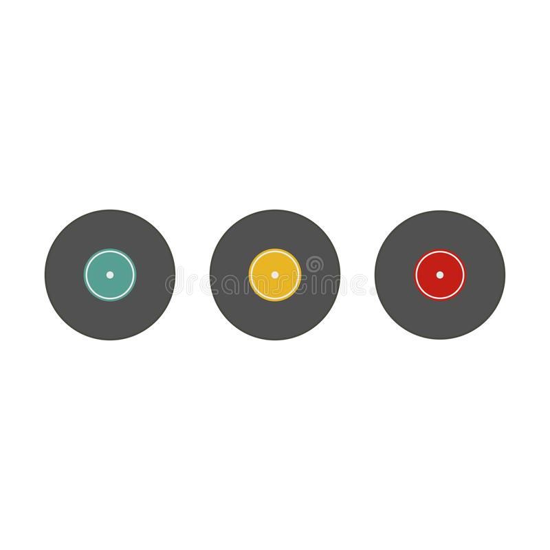 Musical plate, gramophone vinyl, set. White background. Vector illustration. EPS 10 royalty free illustration