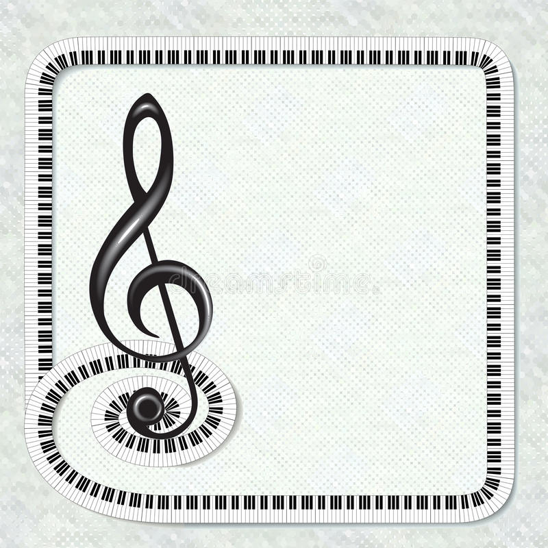 Musical poster with treble clef and keyboard frame. May be useful for invitation to a party, festival, recital. Fit for advertisement. Also may be background in royalty free illustration