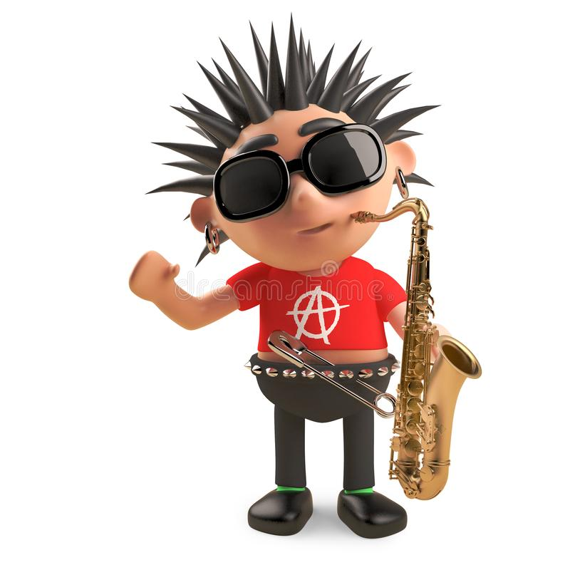 Musical punk rocker with spikey hair goes jazz with a saxophone, 3d illustration. Render royalty free illustration