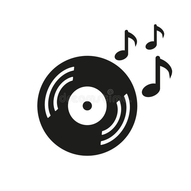 Musical record, vintage vinyl icon - vector royalty free illustration