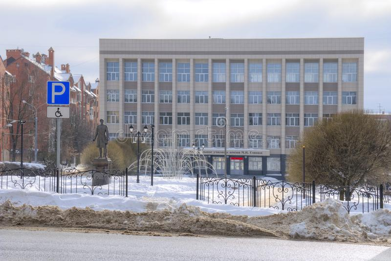 Musical regional school named after Glinka. Smolensk. SMOLENSK, RUSSIA - March 08.2018: Monument to the famous Russian traveler and naturalist Nikolai stock photography