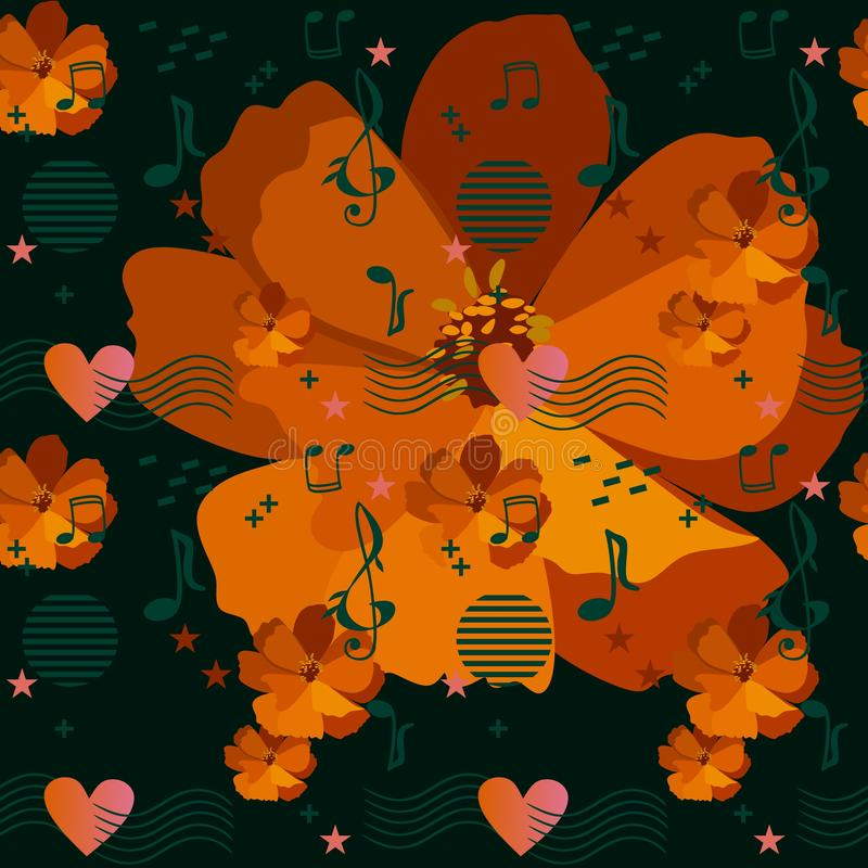 Musical rulers passing through the heart, music notes and signs, stars and elements in memphis style on orange cosmos flowers royalty free illustration