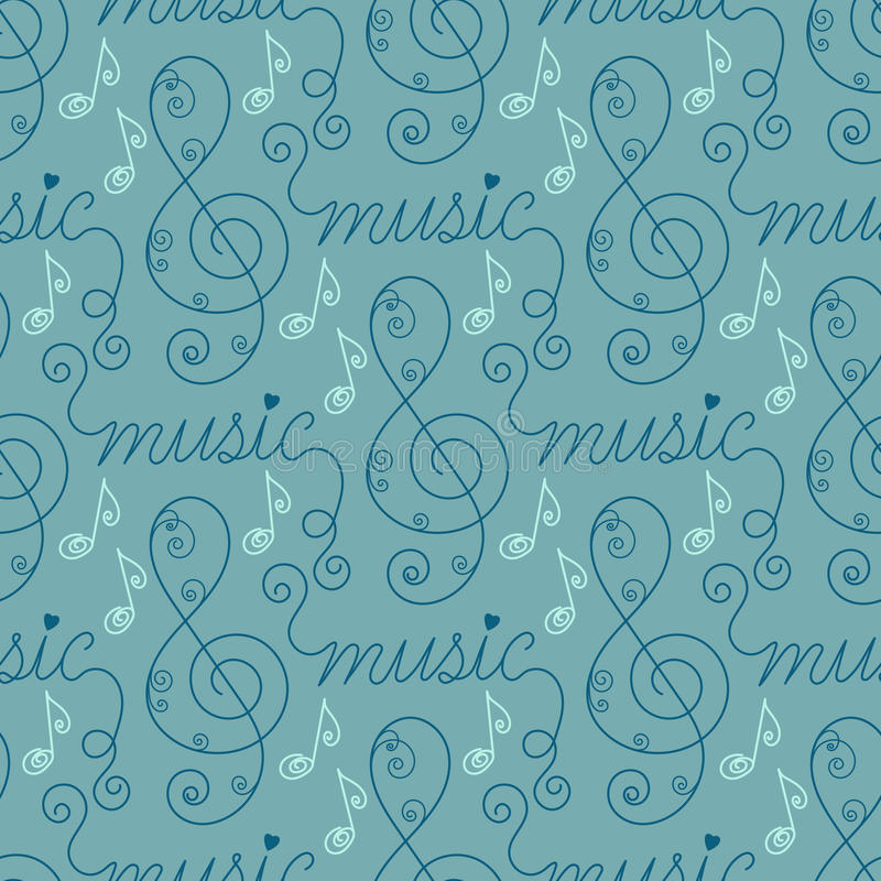 Musical seamless pattern. Seamless background with notes, treble clefs and handwritten word music. Vector illustration royalty free illustration