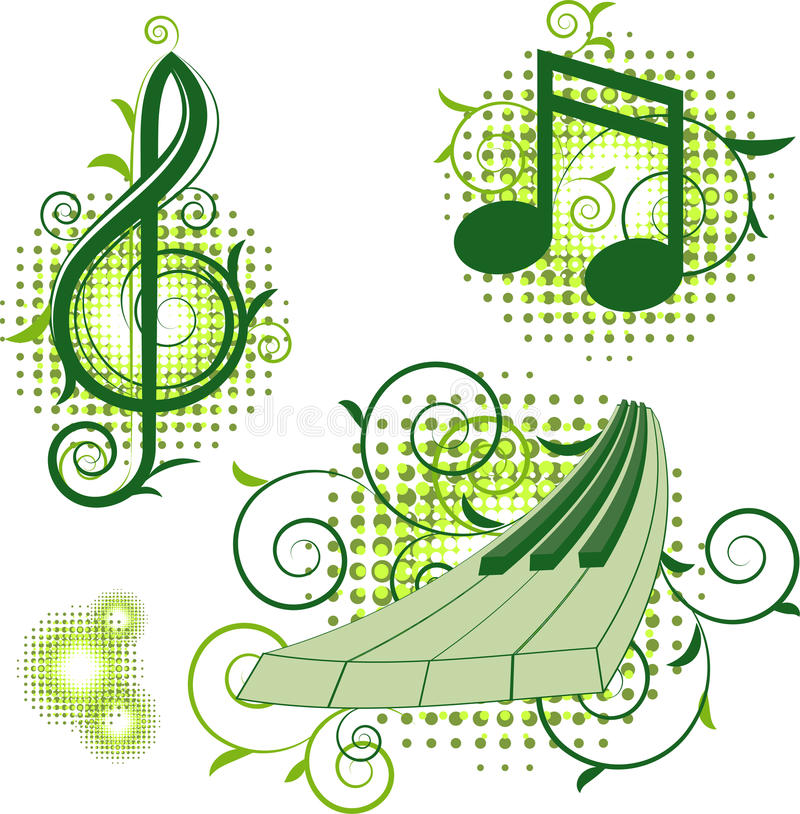 Musical signs with floral elements stock illustration