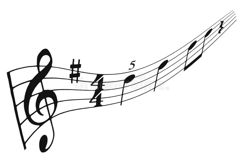 Musical staff and notes royalty free illustration