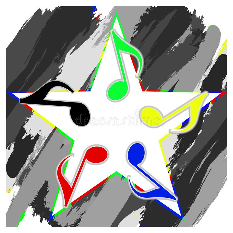 Musical star from musical notation col royalty free illustration