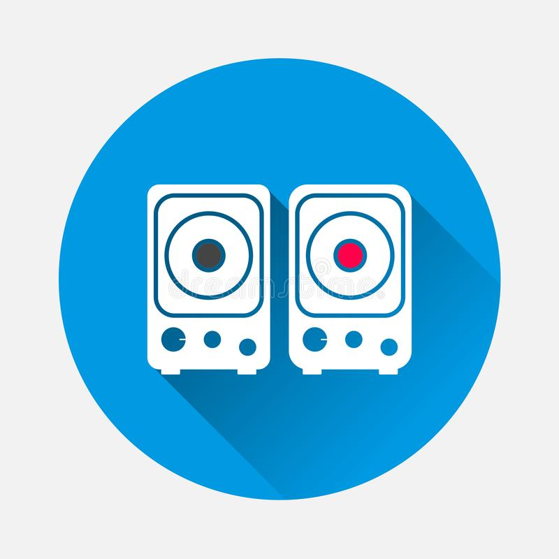 Musical stereo speakers vector icon on blue background. Flat image The stereo speaker is turned on and off with long shadow. royalty free illustration