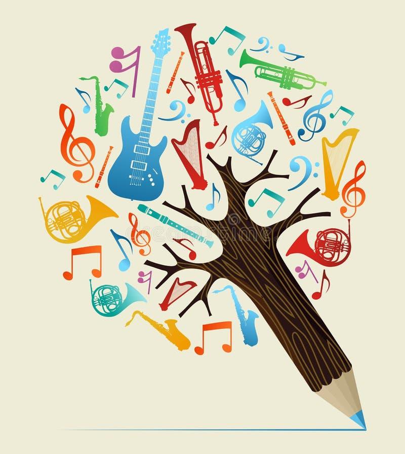 Musical studies concept pencil tree vector illustration