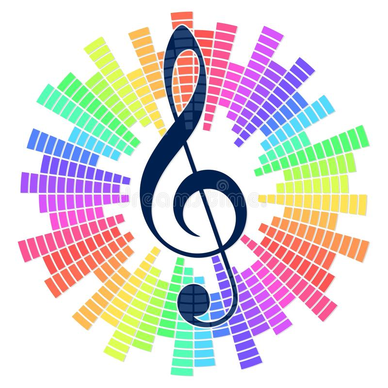 Musical symbol with sound scale. A musical symbol with a color sound scale vector illustration