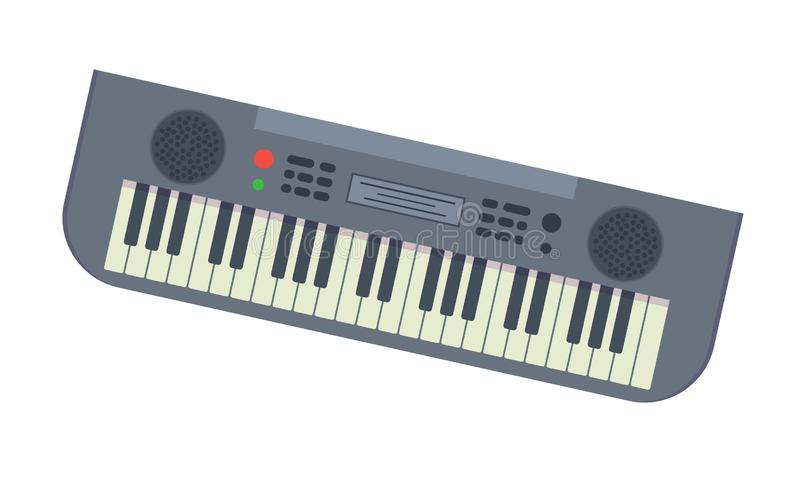 Musical synthesizer with lot of different keys and functions. Beautiful modern musical synthesizer with lot of different keys and functions. Electronic piano royalty free illustration