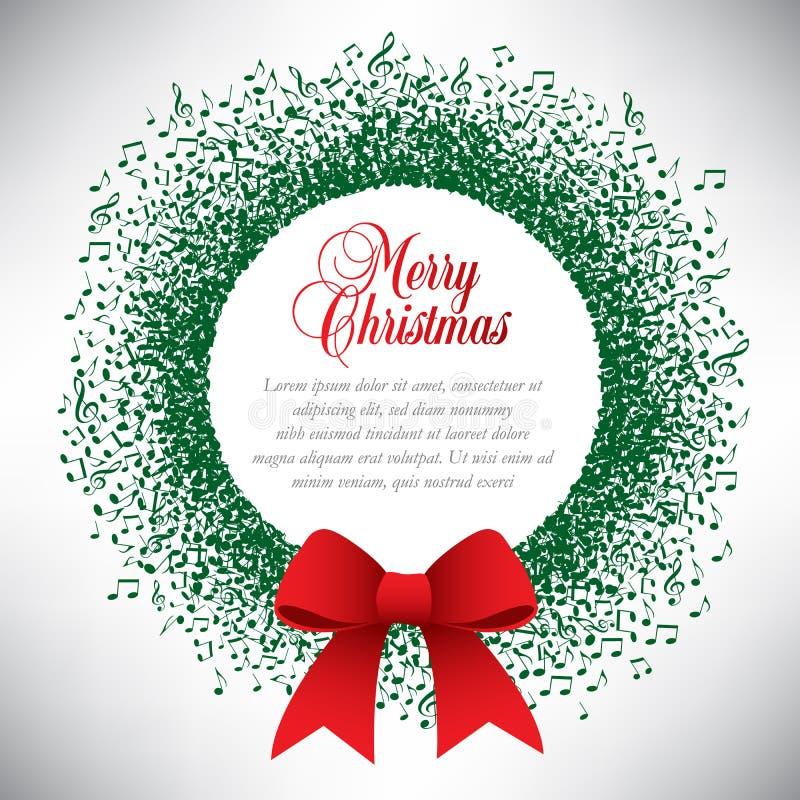 Musical theme Christmas wreath royalty free illustration