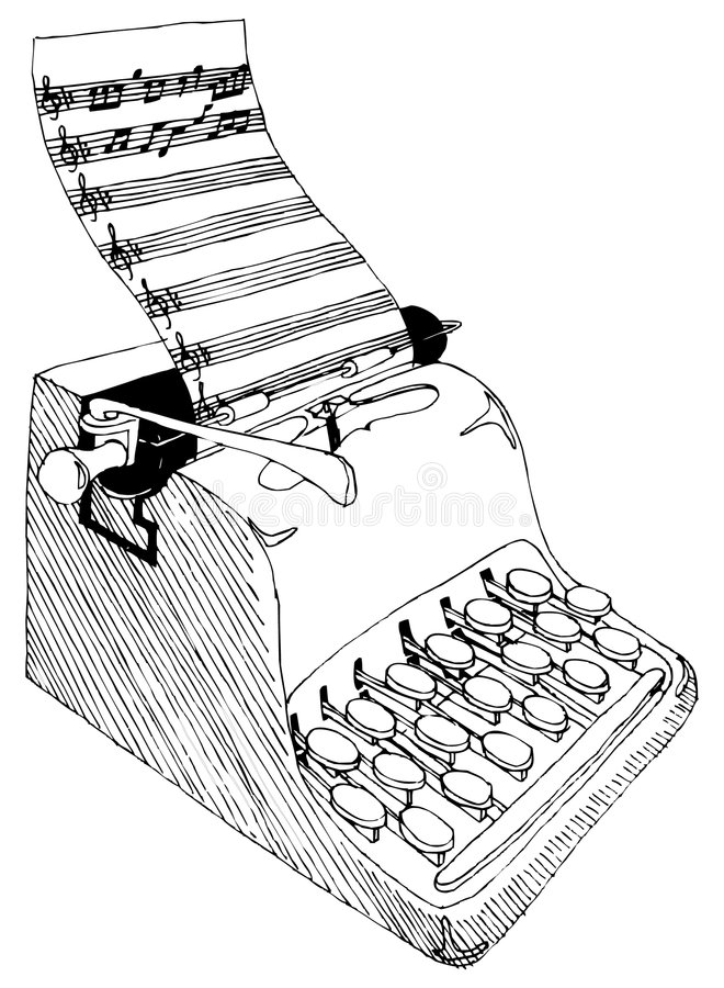 Musical Typewriter. High contrast line art drawing vector illustration